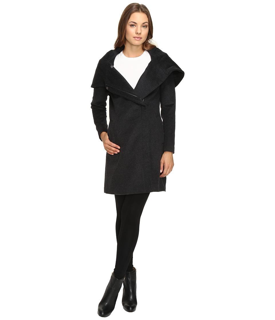 Cole Haan - Hooded Asymmetrical Zip Front Coat (Charcoal) Women's Coat
