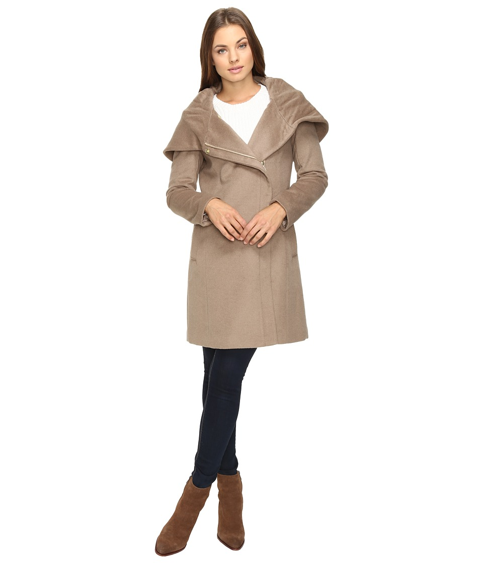 Cole Haan - Hooded Asymmetrical Zip Front Coat (Oatmeal) Women's Coat