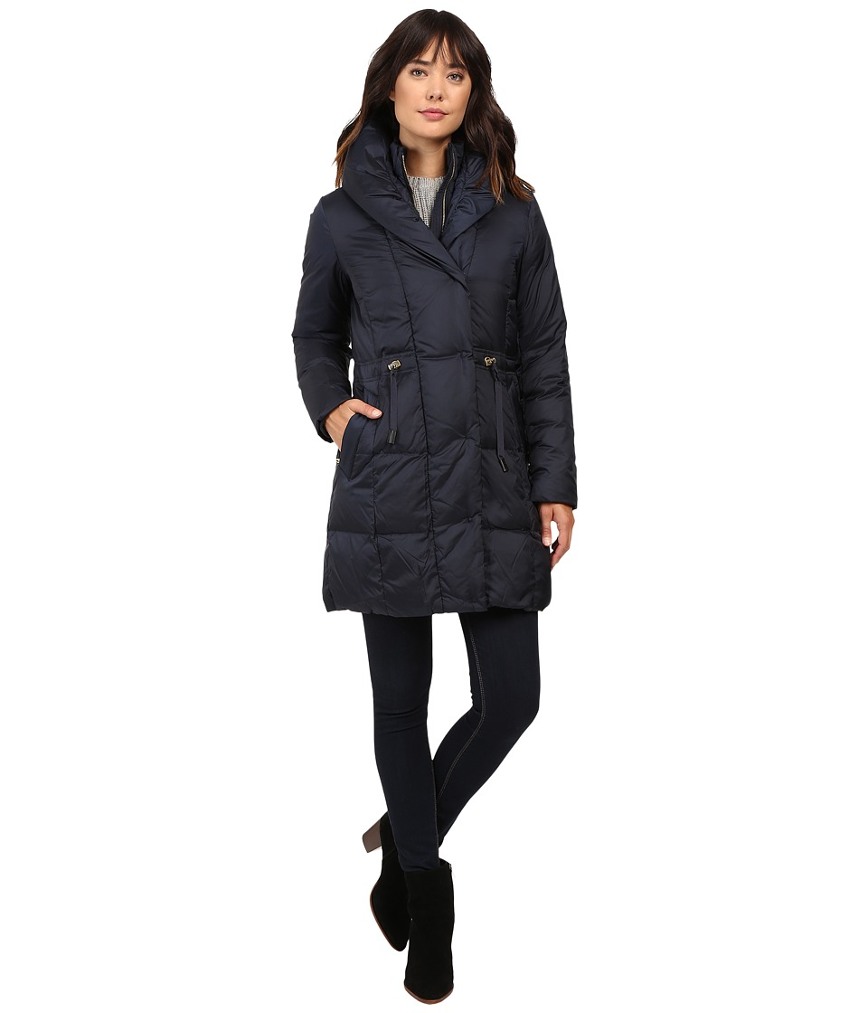 Cole Haan - Bib Front Down Coat with Oversized Shawl Collar (Rainstorm) Women's Coat