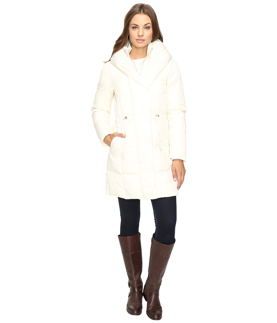 Cole Haan - Bib Front Down Coat with Oversized Shawl Collar (Ivory) Women's Coat