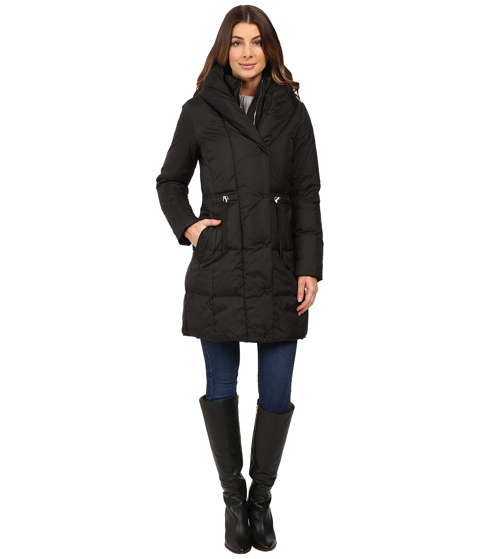 Cole Haan - Bib Front Down Coat with Oversized Shawl Collar (Black) Women's Coat