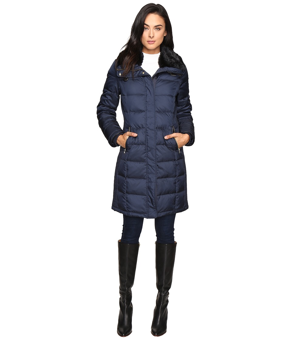 Cole Haan - Down Coat with Rabbit Faux Fur Removable Collar (Rainstorm) Women's Coat
