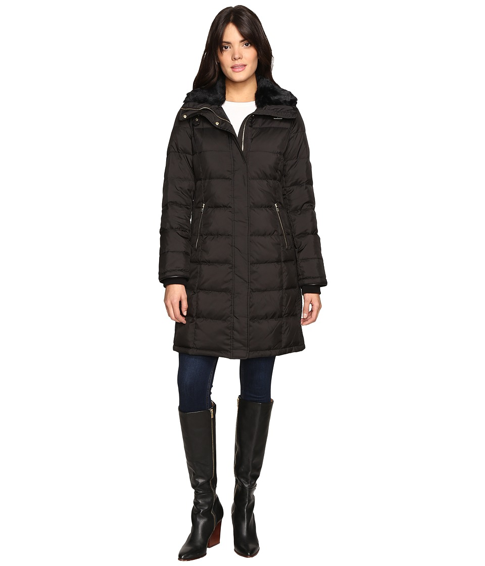 Cole Haan - Down Coat with Rabbit Faux Fur Removable Collar (Black) Women's Coat