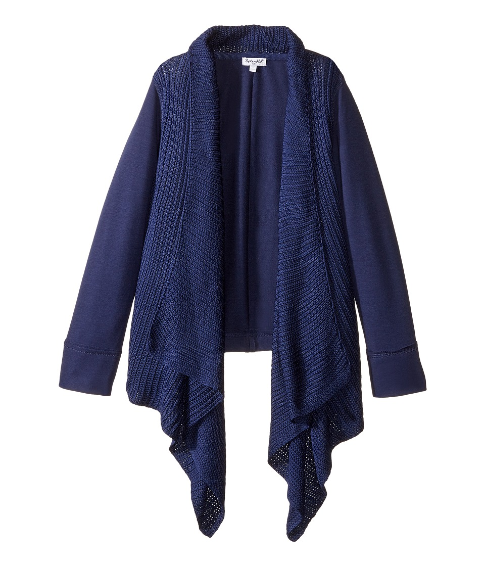 Splendid Littles - Sweater Knit French Terry Mix Wrap (Big Kids) (Navy) Girl's Sweater
