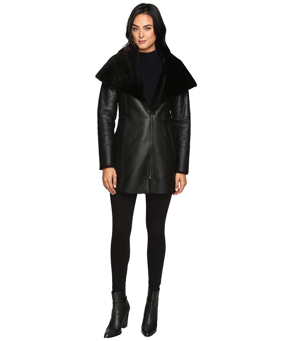 Cole Haan Hooded Shearling Car Coat (Black) Women