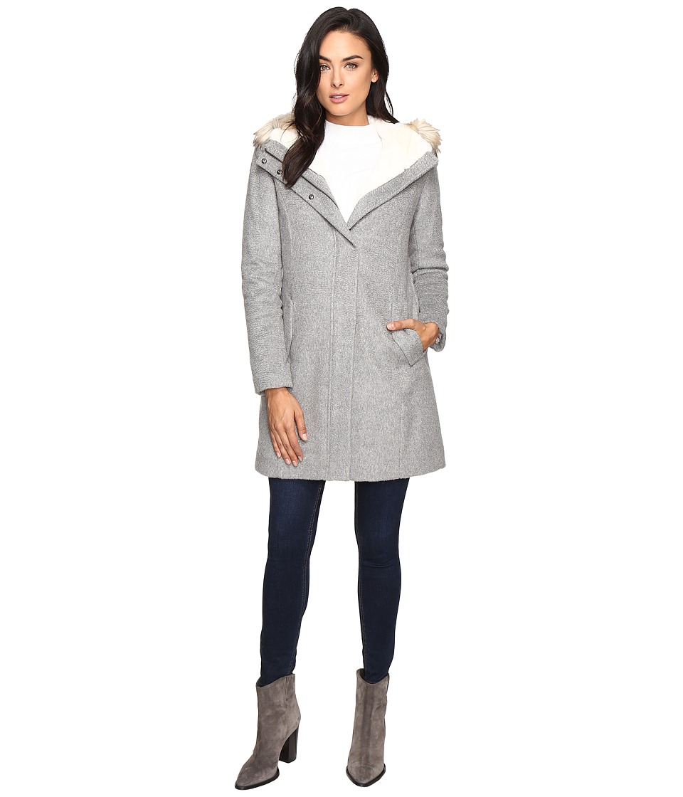 Cole Haan - Striccato Wool Hooded Parka w/ Faux Fur (Light Grey Melange) Women's Coat