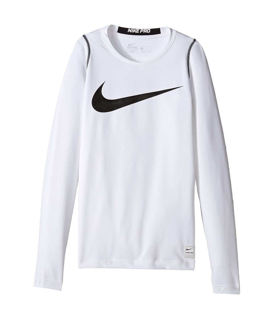 Nike Kids - Pro Hyperwarm Long Sleeve Top (Little Kids/Big Kids) (White/Black) Boy's Clothing