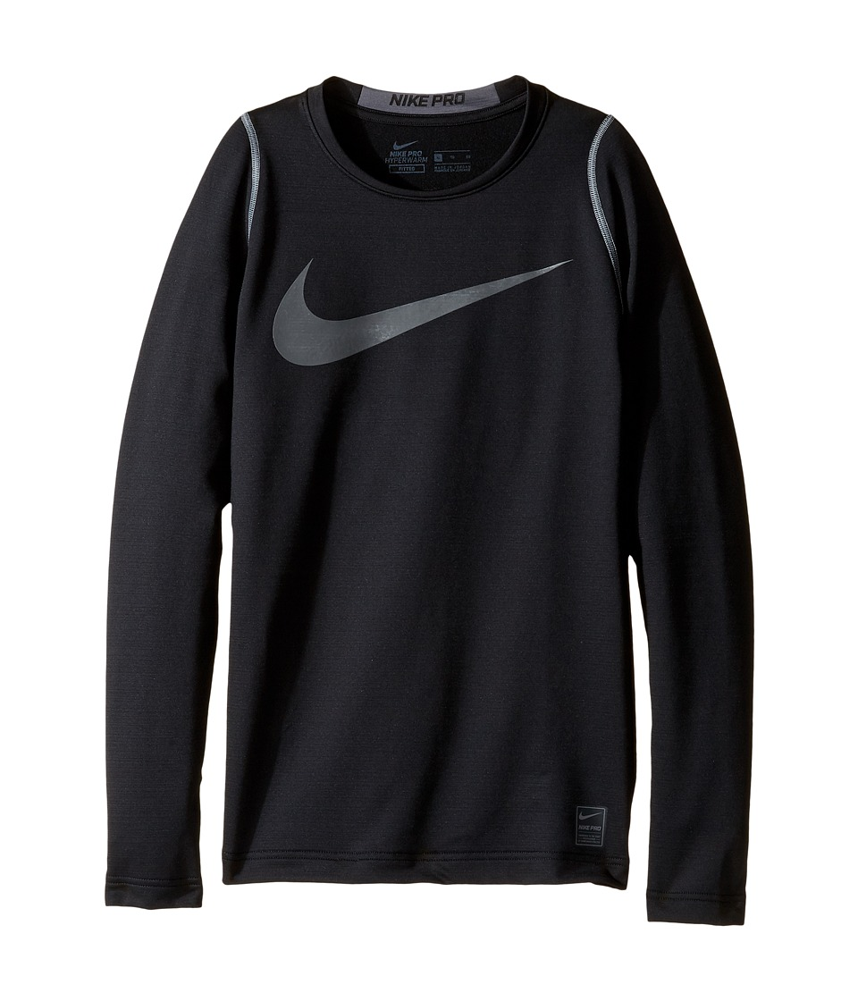 Nike Kids - Pro Hyperwarm Long Sleeve Top (Little Kids/Big Kids) (Black/Dark Grey) Boy's Clothing