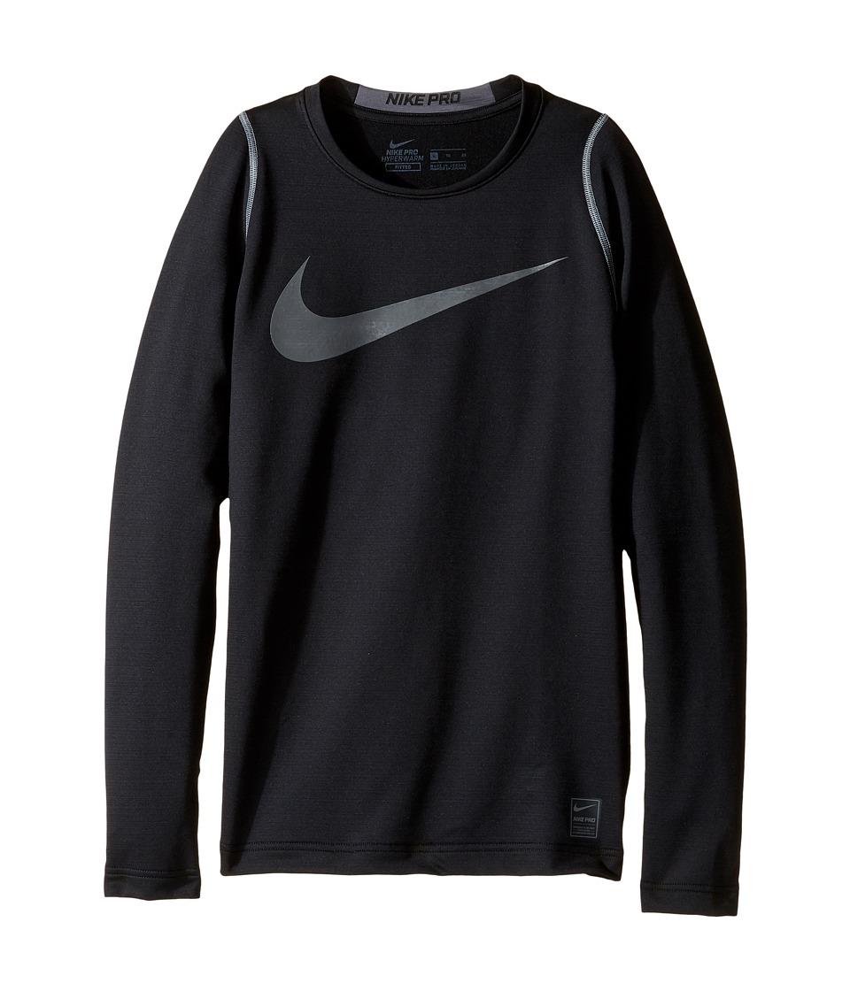 Nike Kids - Pro Hyperwarm Long Sleeve Top (Little Kids/Big Kids) (Black/Dark Grey) Boy's Clothing