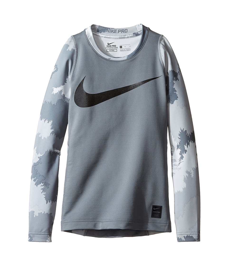 Nike Kids - Hyperwarm Long Sleeve AOP Crew Top (Little Kids/Big Kids) (Cool Grey/Black/Black) Boy's Clothing