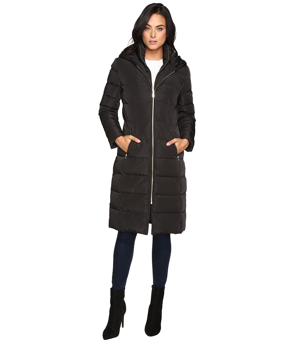 Cole Haan - 40 Quilted Down Coat with Oversized Hood (Black) Women's Coat