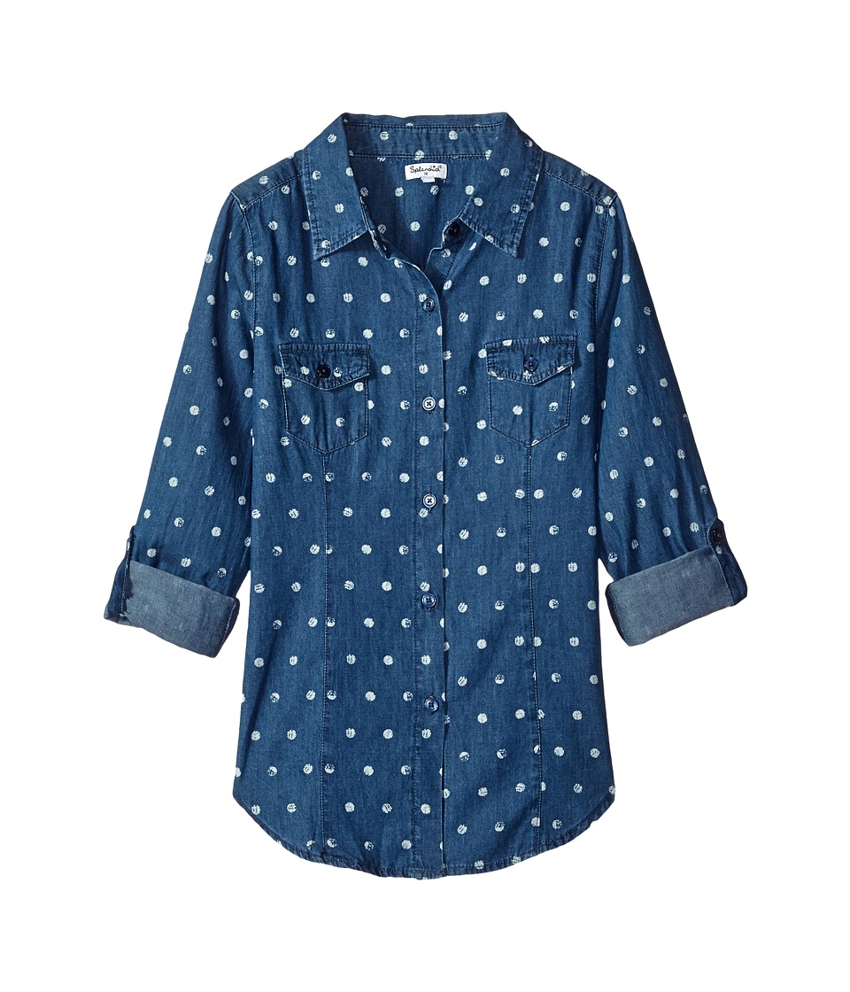 Splendid Littles - Dotted Denim Shirt (Big Kids) (Print) Girl's Clothing
