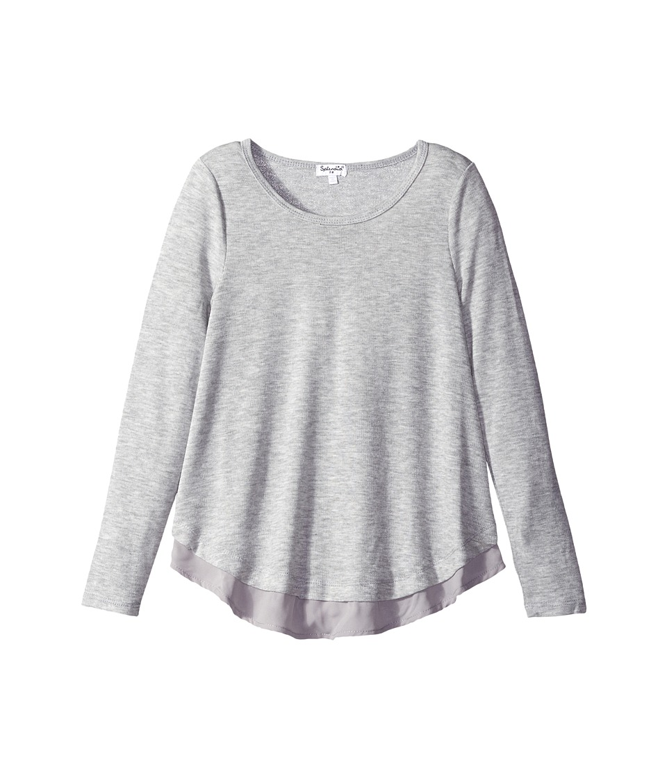 Splendid Littles - Loose Knit Long Sleeve with Chiffon Top (Big Kids) (Grey Heather) Girl's Clothing