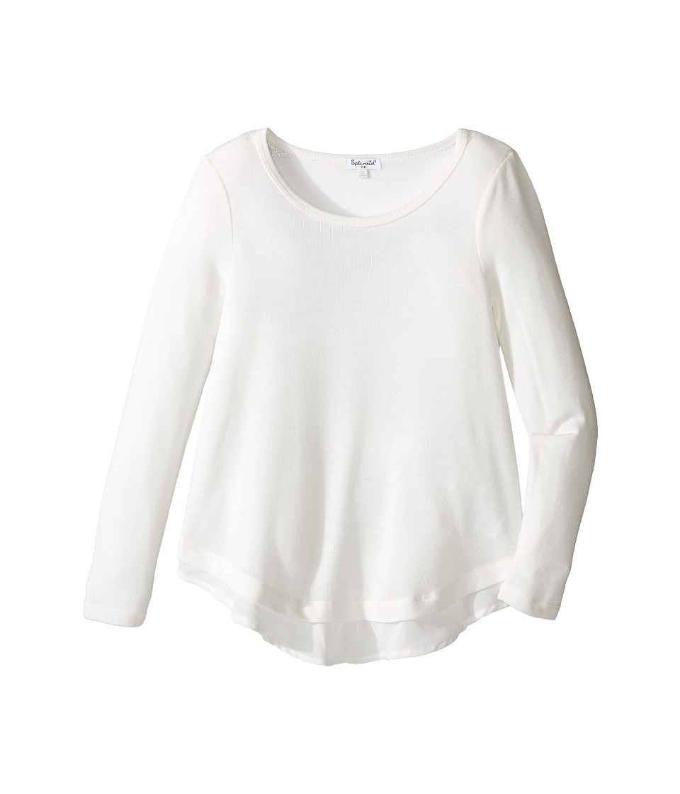 Splendid Littles - Loose Knit Long Sleeve with Chiffon Top (Big Kids) (Off-White) Girl's Clothing