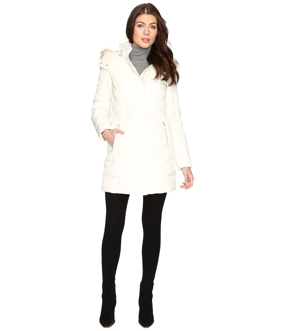 Cole Haan - Down Parka w/ Faux Fur (Ivory) Women's Coat