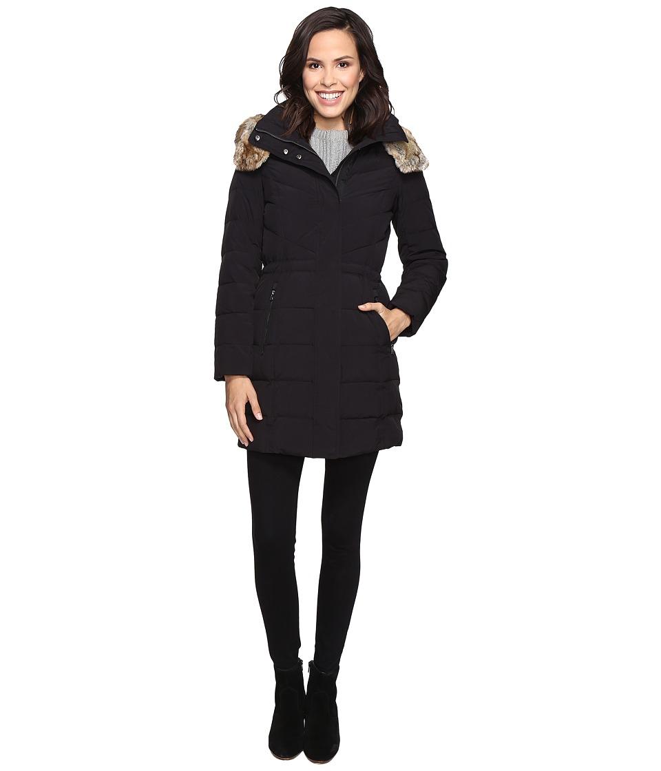 Cole Haan - Down Parka w/ Faux Fur (Black) Women's Coat