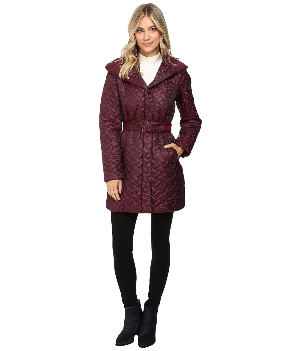 Cole Haan - Signature Quilted Coat with Hood (Cabernet) Women's Coat