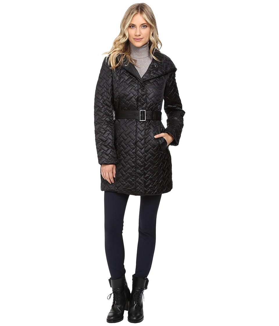 Cole Haan - Signature Quilted Coat with Hood (Black) Women's Coat