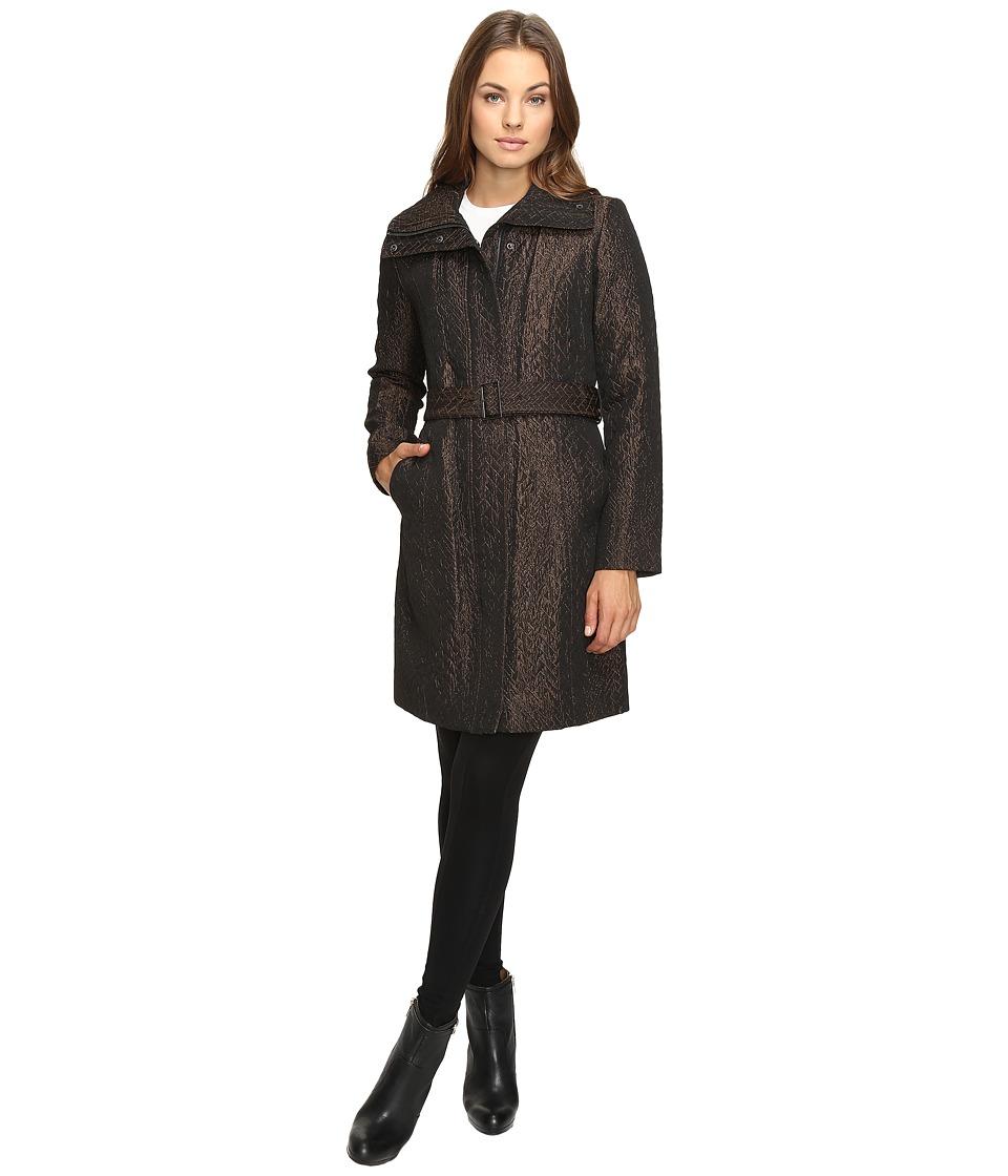 Cole Haan - Italian Jacquard Genevieve Weave Coat (Bronze) Women's Coat