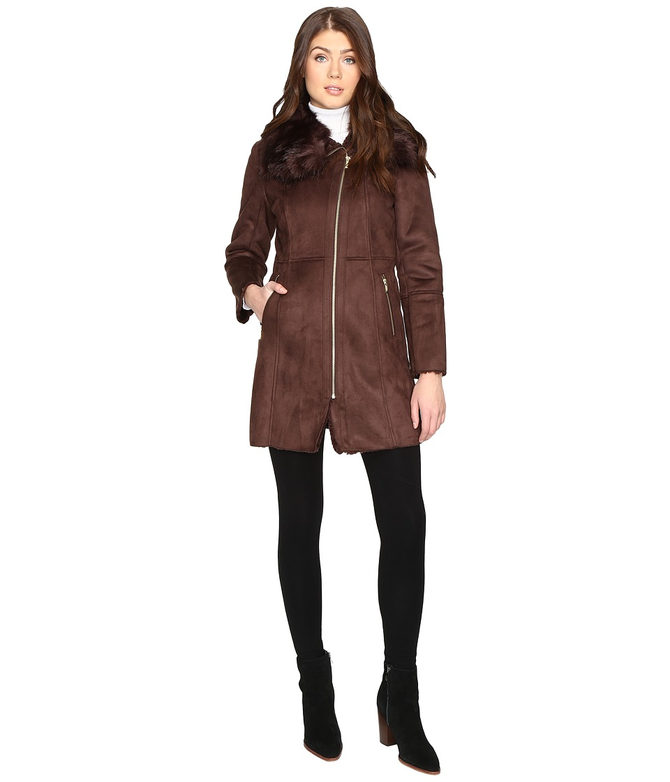 Cole Haan - Signature Faux Shearling with Toscana Trim (Brown) Women's Coat