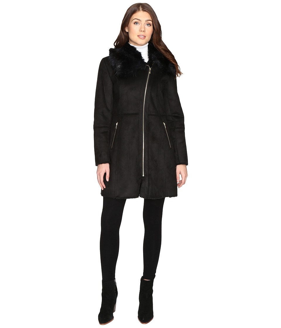 Cole Haan - Signature Faux Shearling with Toscana Trim (Black) Women's Coat