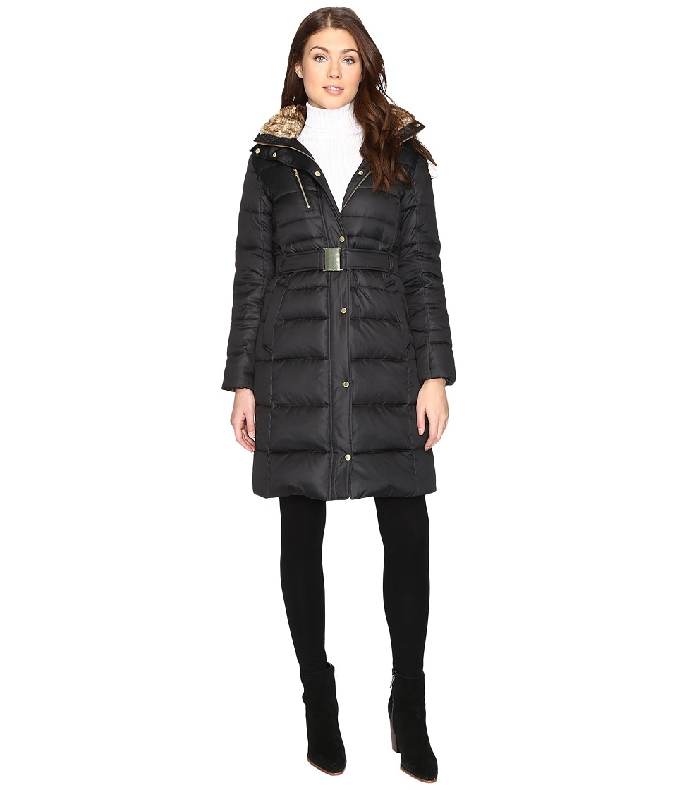 Cole Haan - Signature Quilted Coat with Faux Fur Lining (Black) Women's Coat