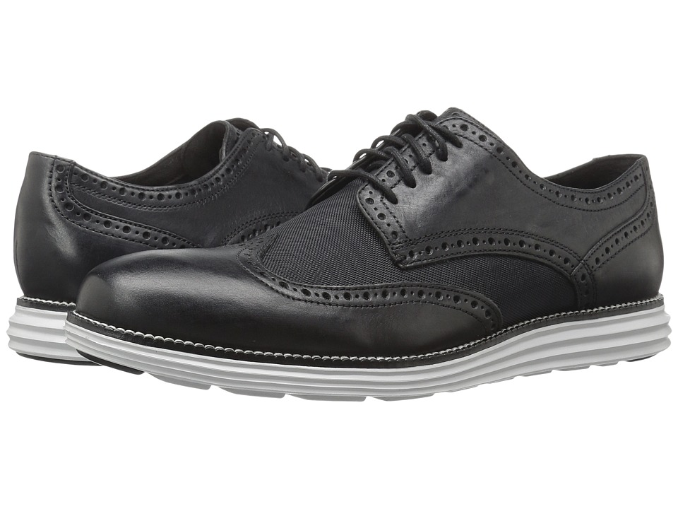 Cole Haan - Original Grand Wing Oxford (Black Leather/Textile/Vapor Blue) Men's Lace up casual Shoes