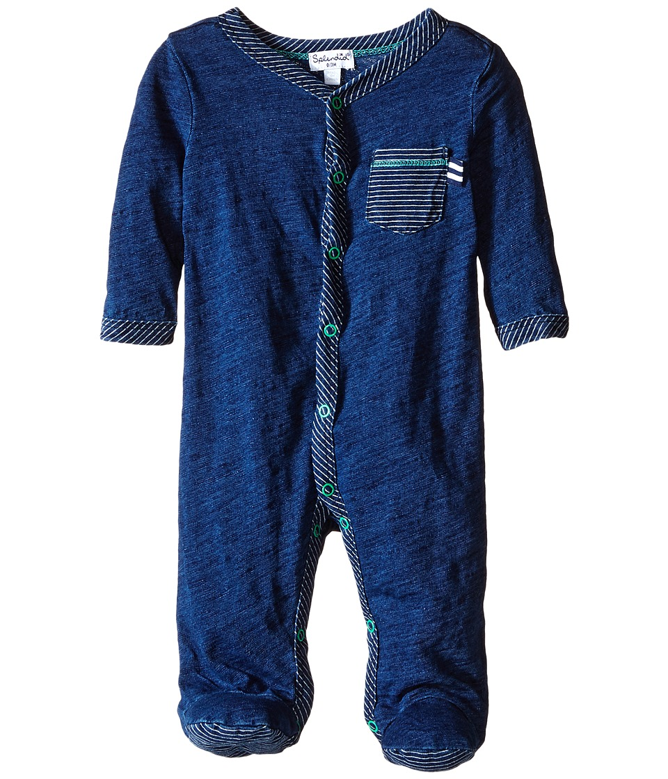 Splendid Littles - Indigo Long Sleeve Coverall with Stripes (Infant) (Dark Stone) Boy's Overalls One Piece