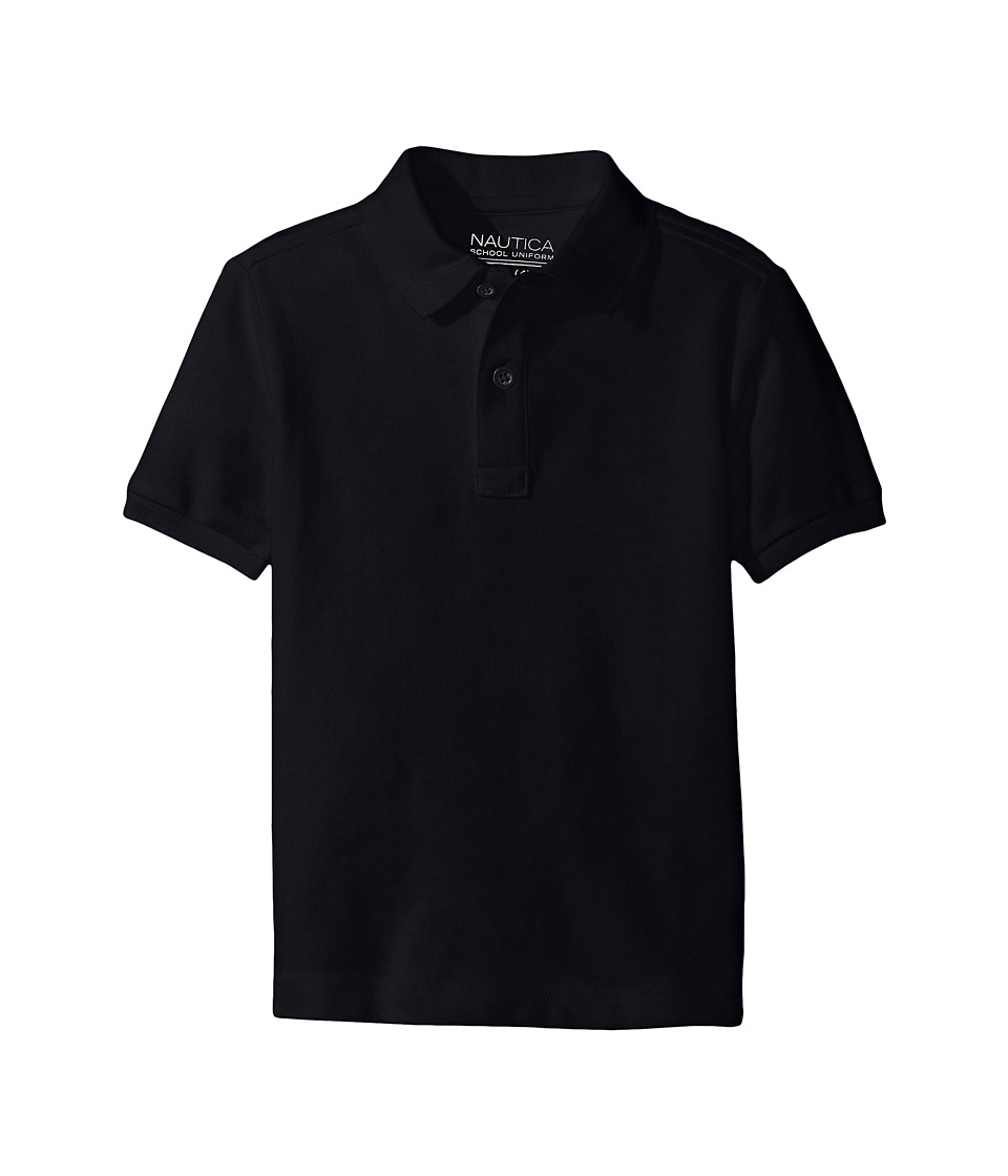 Nautica Kids - Husky Short Sleeve Pique Polo (Big Kids) (Navy) Boy's Short Sleeve Pullover