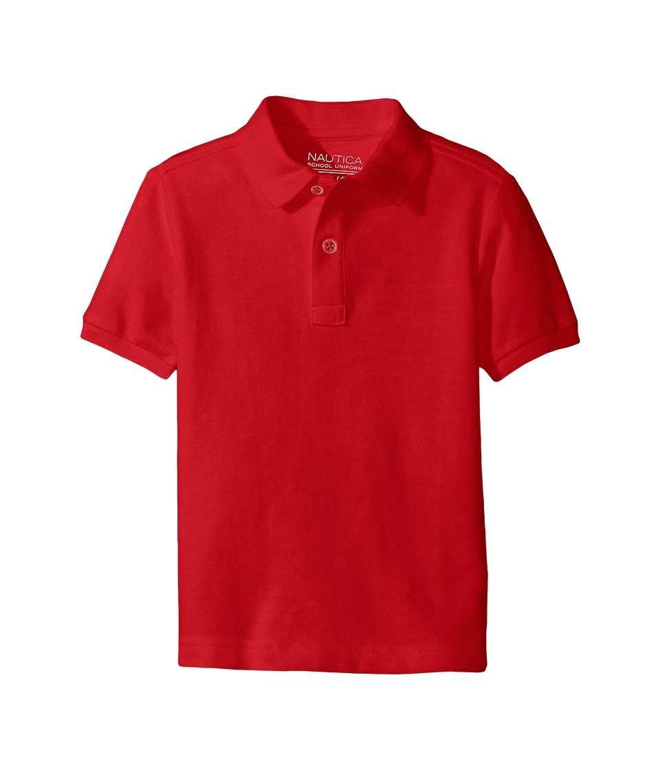 Nautica Kids - Husky Short Sleeve Pique Polo (Big Kids) (Red) Boy's Short Sleeve Pullover