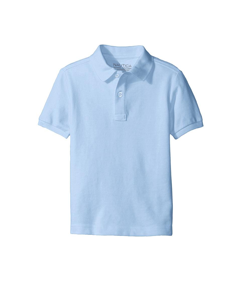 Nautica Kids - Short Sleeve Pique Polo (Little Kids) (Light Blue) Boy's Short Sleeve Pullover