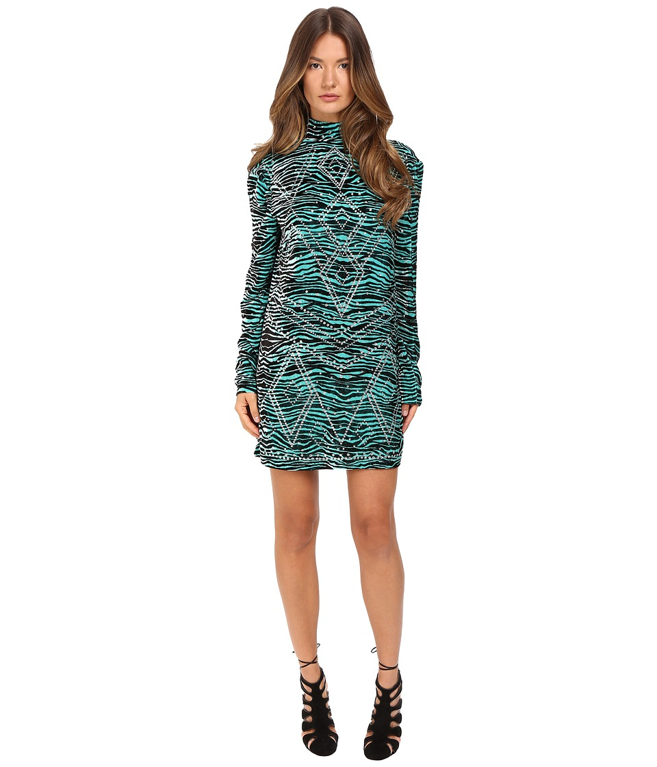 Just Cavalli Zebra Kiss Print Long Sleeve Dress (Turquoise Print) Women