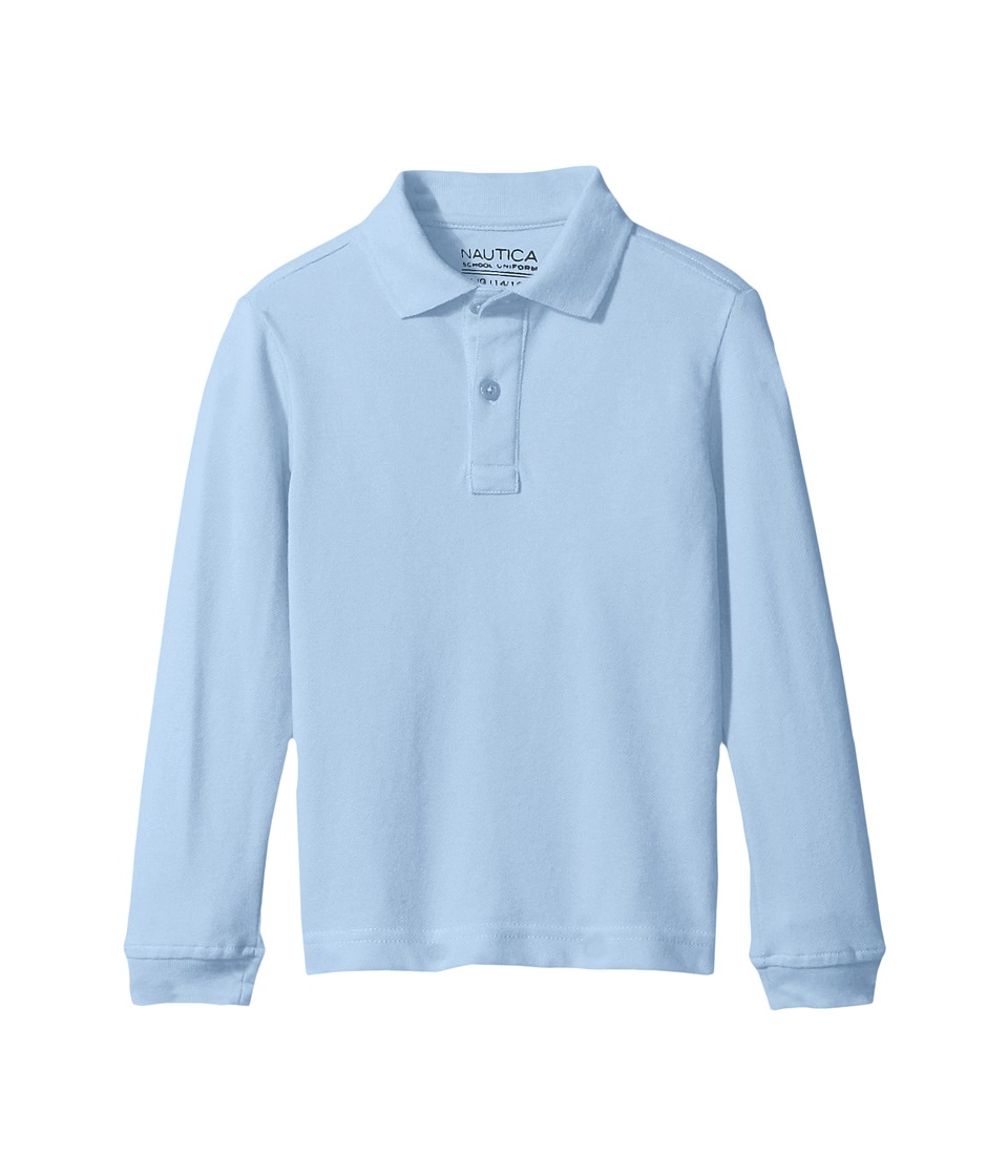 Nautica Kids - Husky Long Sleeve Pique Polo (Big Kids) (Light Blue) Boy's Long Sleeve Pullover