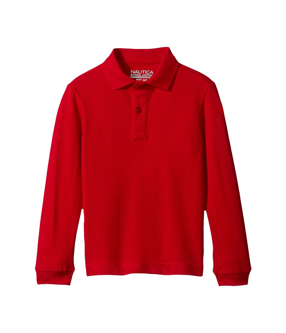 Nautica Kids - Husky Long Sleeve Pique Polo (Big Kids) (Red) Boy's Long Sleeve Pullover