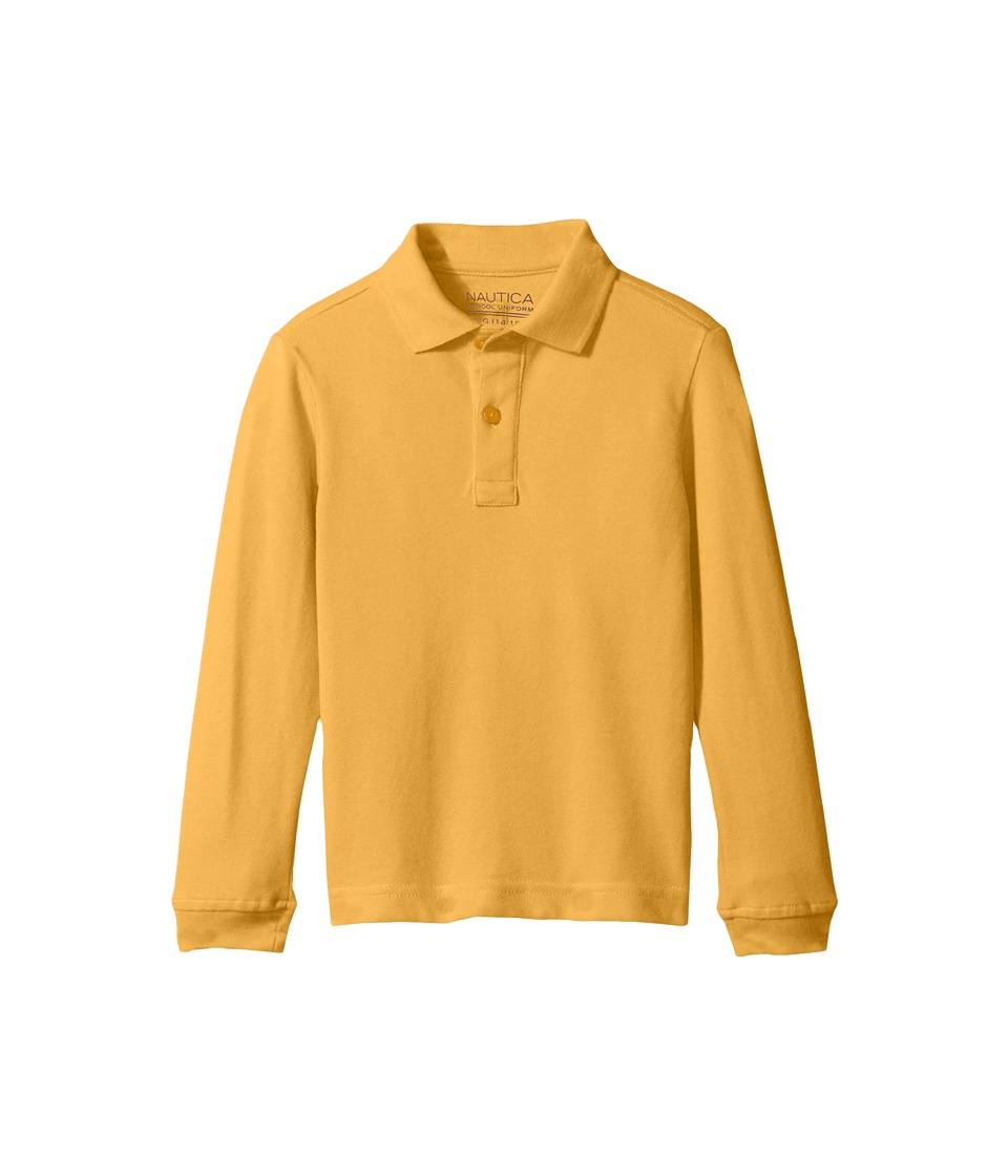 Nautica Kids - Husky Long Sleeve Pique Polo (Big Kids) (Gold) Boy's Long Sleeve Pullover