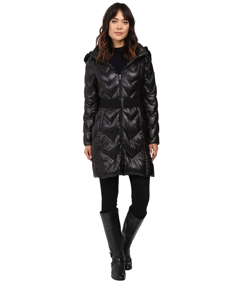 LAUREN Ralph Lauren - Chevron Quilted Faux Fur Trim Hood (Black) Women's Coat