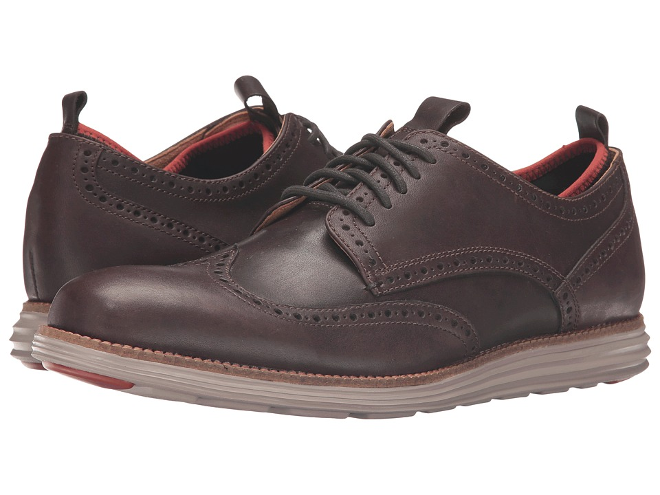 Cole Haan - Original Grand Neoprene Lined Wing Oxford (Chestnut Leather/Dark Roast Knit/Cobblestone) Men's Lace up casual Shoes