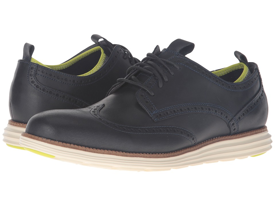 Cole Haan Original Grand Neoprene Lined Wing Oxford (Marine Blue/Ironstone Knit/Ivory) Men