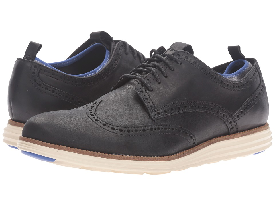 Cole Haan - Original Grand Neoprene Lined Wing Oxford (Black Leather/Ironstone Knit/Ivory) Men's Lace up casual Shoes