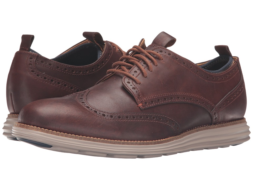 Cole Haan Original Grand Neoprene Lined Wing Oxford (Harvest Brown/Cobblestone Knit/Cobblestone) Men