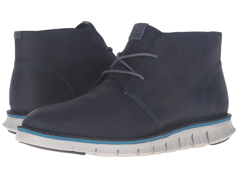 Cole Haan Zerogrand Stitchout Chukka (Marine Blue Leather/Vapor Grey) Men