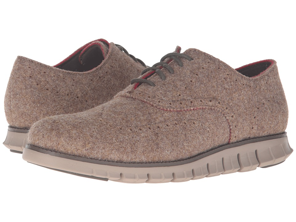 Cole Haan Zerogrand Short Wing Wool Closed (Brown Wool/Cobblestone) Men