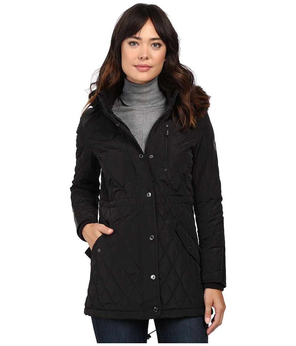 LAUREN Ralph Lauren - Faux Fur Trim Anorak (Black) Women's Coat