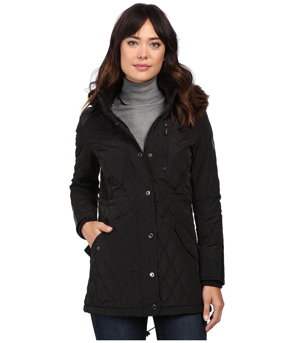 LAUREN Ralph Lauren - Faux Fur Trim Anorak (Black) Women's Coat