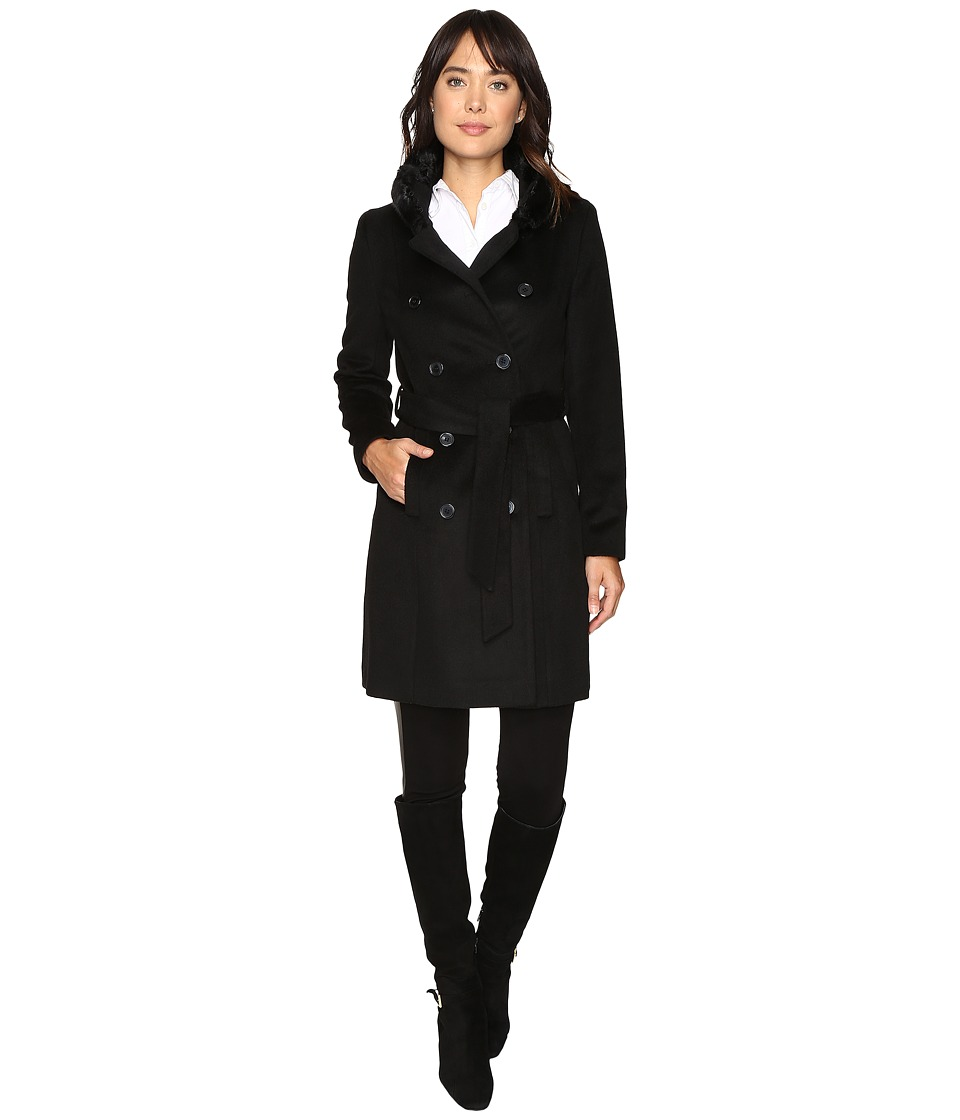 LAUREN Ralph Lauren - Double Breast Faux Fur Collar Military (Black) Women's Coat