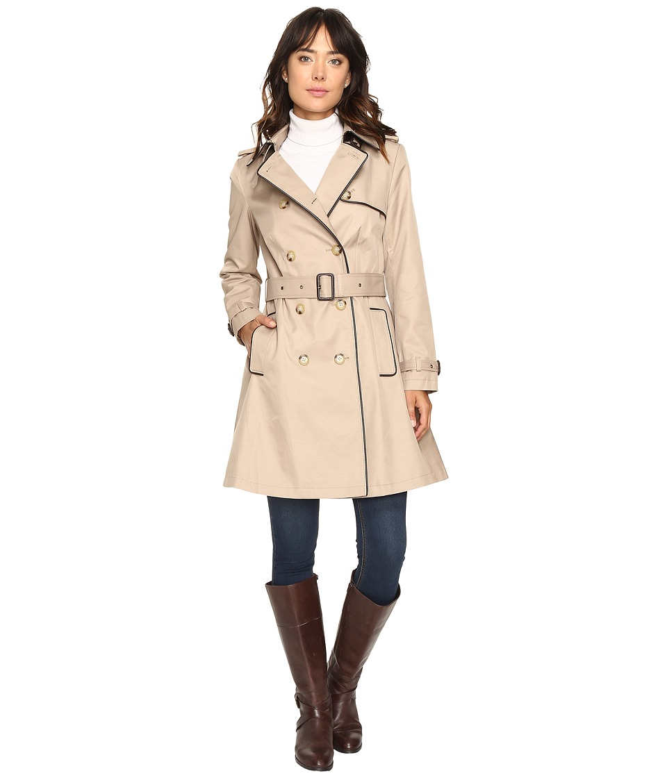 LAUREN Ralph Lauren - Double-Breasted Trench w/Faux Leather Trim (Sand) Women's Coat