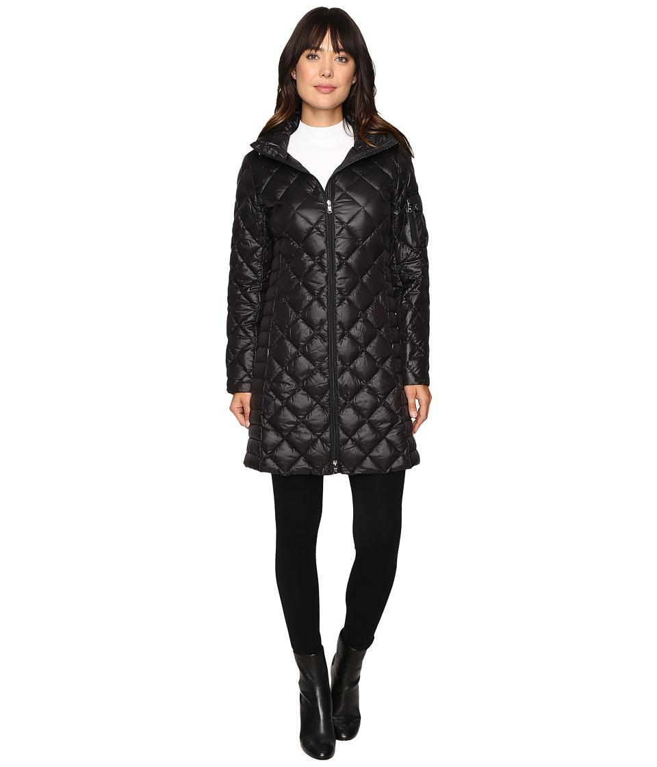 LAUREN Ralph Lauren - Faux Suede Shoulder Packable (Black) Women's Coat