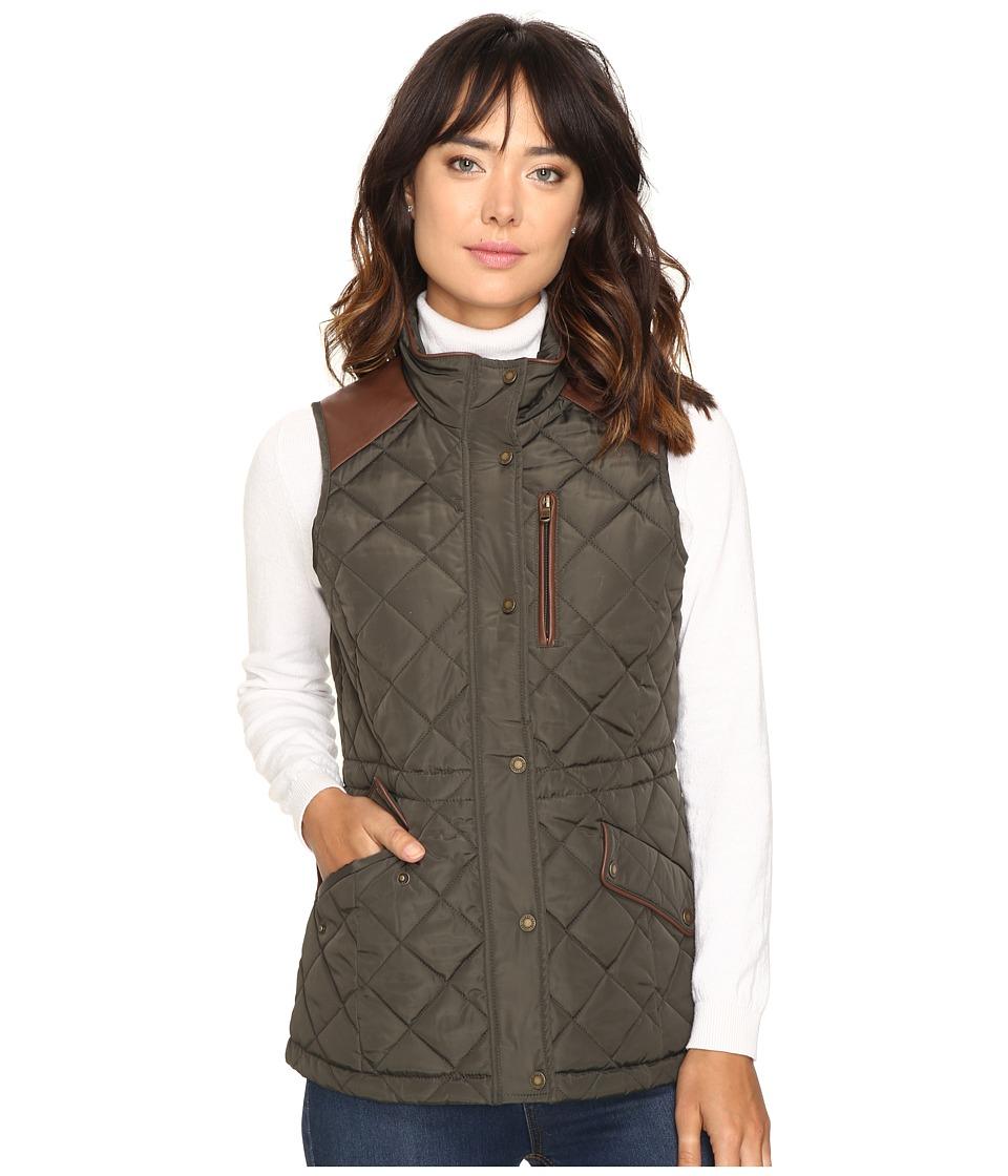 LAUREN Ralph Lauren - Faux Leather Trim Quilted Vest (Dark Moss) Women's Vest
