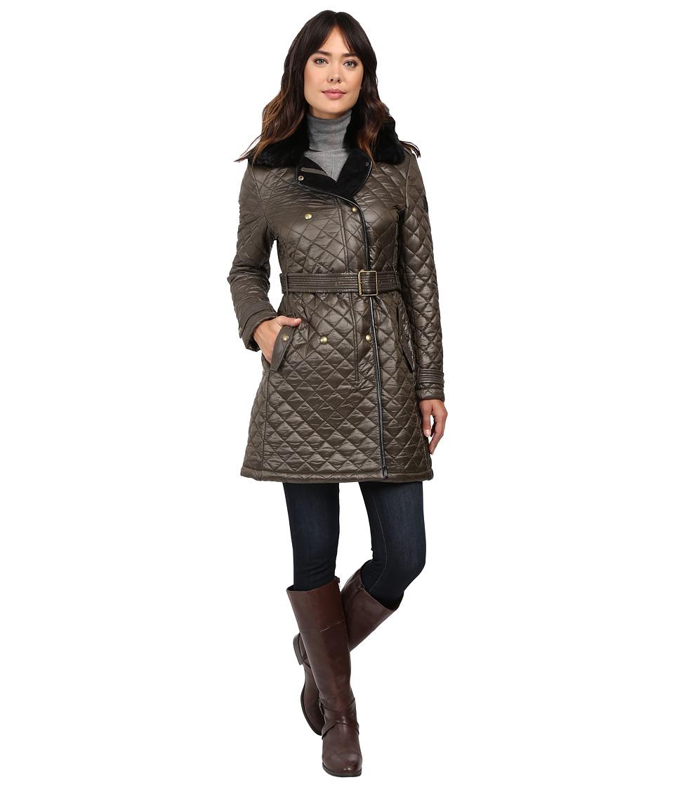 LAUREN Ralph Lauren - Soft Nylon w/ Faux Fur (Olive) Women's Coat