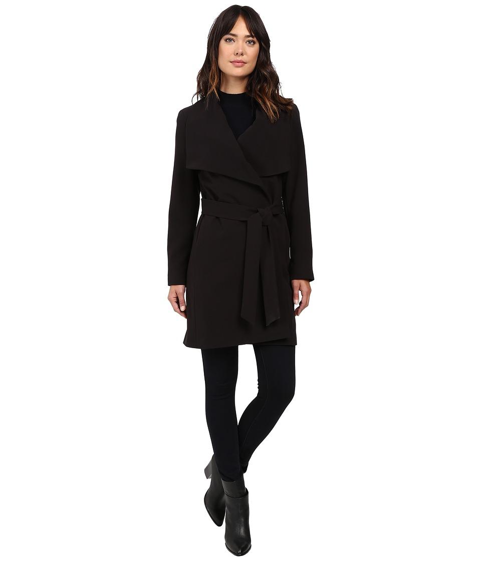LAUREN Ralph Lauren - Crepe Drape Front Wrap (Black) Women's Coat